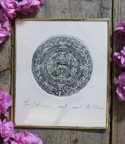 Aztec Sun Stone Carving Tenochtitlan Etching Handmade Mexican Folk Art by Abelar