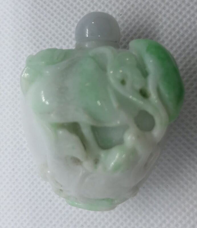 A Fine 1920 Chinese Carved  White And Apple Green Jade Snuff Bottle