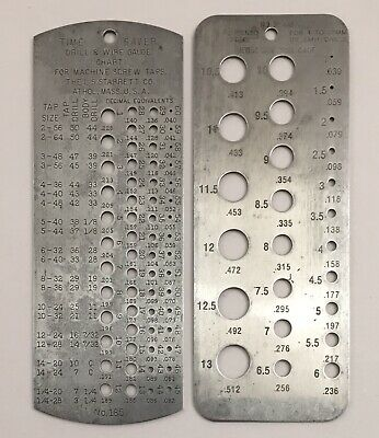 Lot Starrett Time Saver No.185 Drill Wire Gauge Chart Tap Size No. 33mm 1-13mm