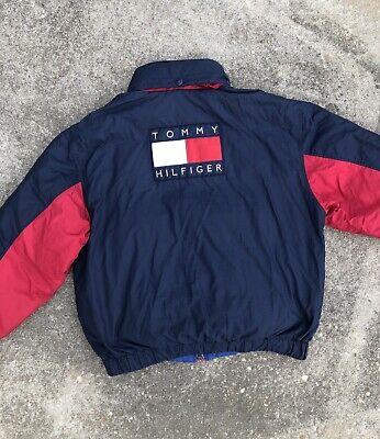 Vintage Rare Reversible Tommy Hilfiger Big Logo Flag Down-Fill Jacket