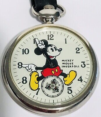 Mickey Mouse Ingersoll Mechanical Pocket Watch w/Coin Fob Disney Limited Edition