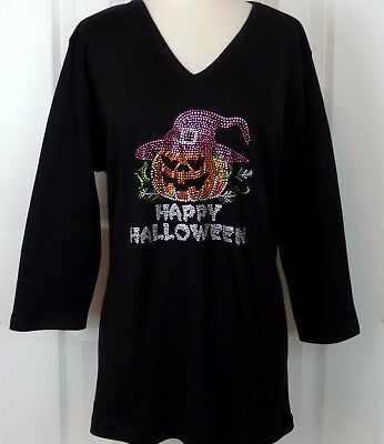 LARGE Embellished Rhinestone Happy Halloween Witch Hat Pumpkin 3/4 Sleeve Top