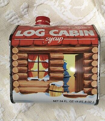 GENERAL FOODS LOG CABIN SYRUP TIN CAN 100TH ANNIVERSARY 1887-1987 COLLECTIBLE