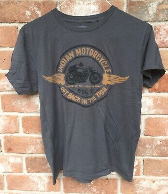 INDIAN MOTORCYCLE shirt LUCKY BRAND adult MEDIUM charcoal gray thin shirt hipste