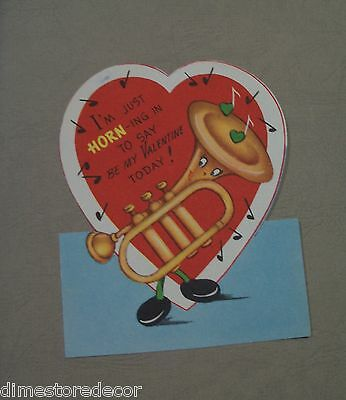 (Vtg Valentine Card Anthropomorphic Brass Tuba Bass Horn Music American Greeting)