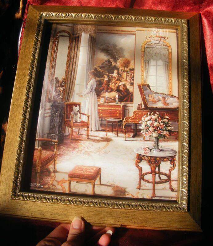Victorian Scene with CHERUBS Gold Framed Picture