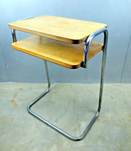 Art Deco STREAMLINE Machine Age CHROME Two Tier Telephone Table BAUHAUS Desk mOd
