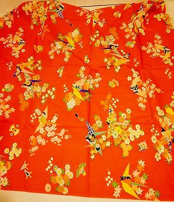 Ткань Red Japanese Fabric Origami Cranes