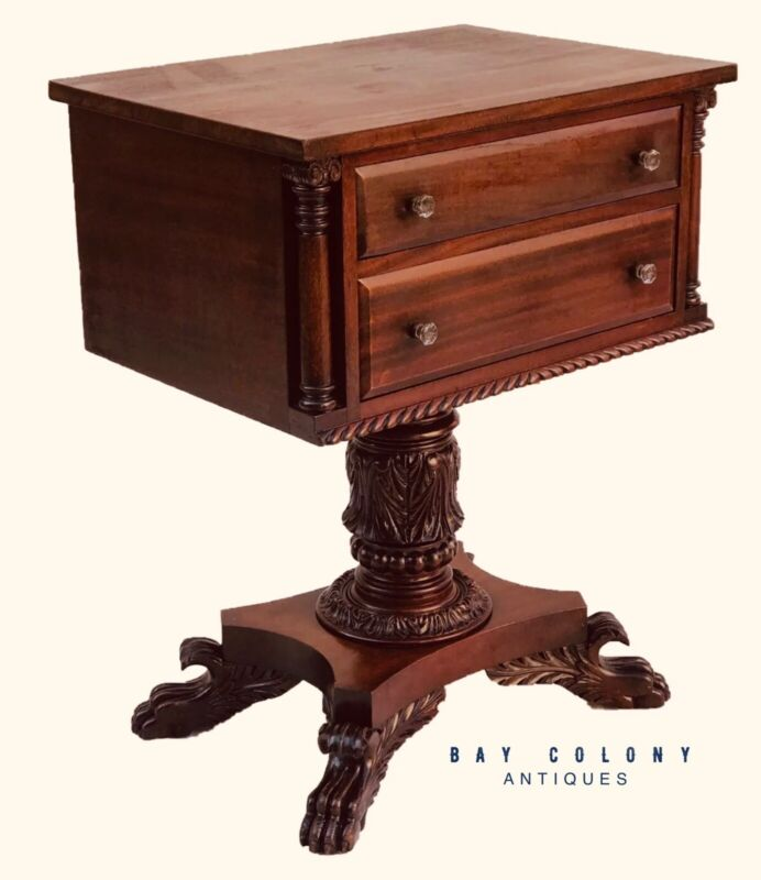 19TH C ANTIQUE CLASSICAL MAHOGANY WORK TABLE ~~ NIGHTSTAND / END TABLE