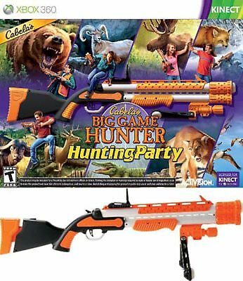 New Cabelas Big Game Hunter  Hunting Party Xbox 360 Game Bundle W Gun Kinect