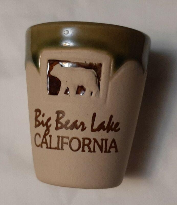Stoneware Shot Glass BIG BEAR LAKE CALIFORNIA Souvenir CA Pottery **FREE SHIP**