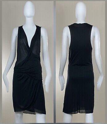 Helmut Lang Dress Sz Large Black Jersey Faux Wrap Sleeveless EXCELLENT