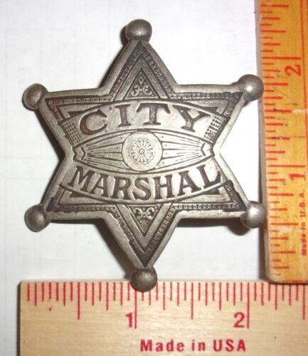 """City Marshal"" badge vintage collectible old West Southwestern cowboy pinback"