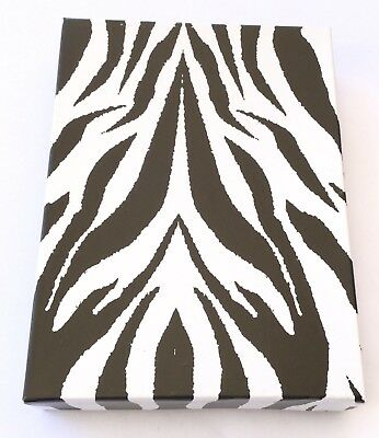 6 Box Animal Zebra Print Jewelry Gift Box W White Cotton Fill Jewel Supplies