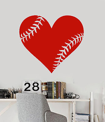 Vinyl Wall Decal Baseball Ball Heart Sports Fan Decor Sticke