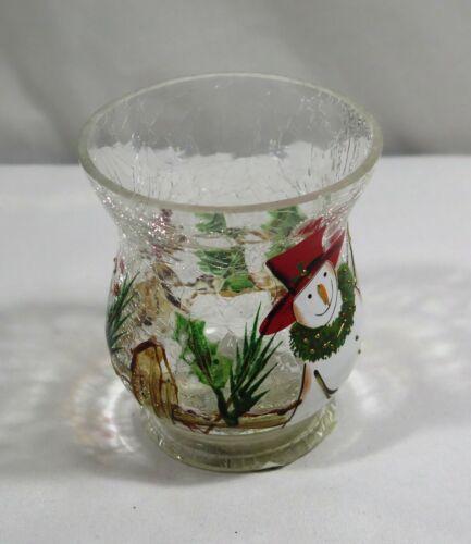 Yankee Candle Winter Cardinal Snowman Crackle Glass Votive Holder