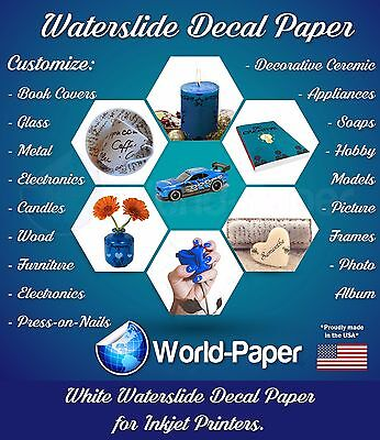 10 sheets WHITE INKJET Waterslide decal paper 8.5x11