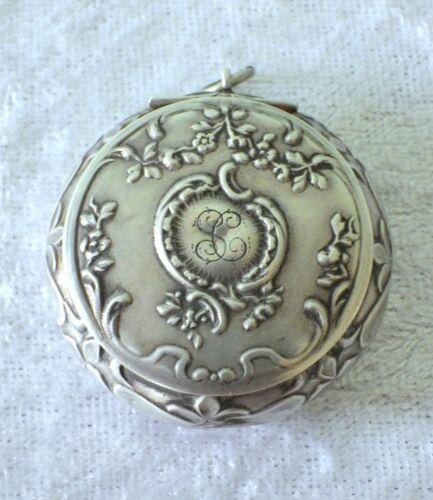 Antique 1800s Art Nouveau sterling silver powder compact pendant mirror goldwash