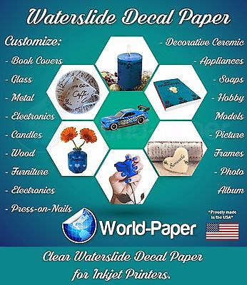 10 sheets INKJET CLEAR Waterslide Transfer Decal Paper 8.5x11