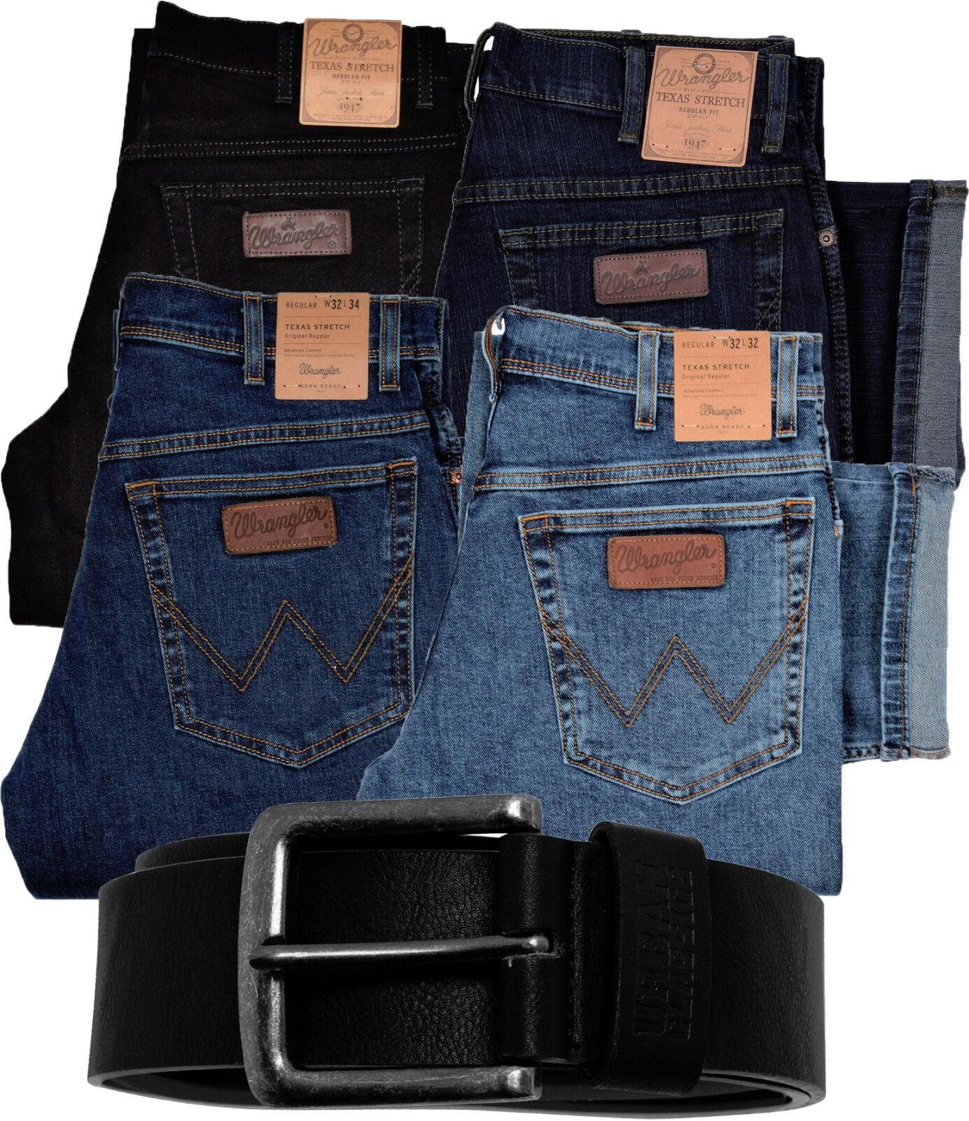 Details zu WRANGLER TEXAS Jeans Stretch Herren Herrenjeans mit Gürtel alle Größen Angebot