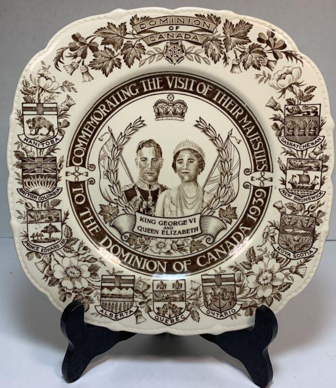 King George VI & Queen Elizabeth commemorative plate Canada 1939 Royal Ivory