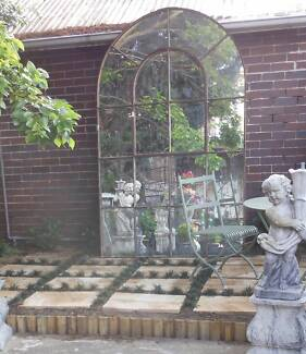 FABULOUS ANTIQUE FRENCH IRON WINDOW FRAME / OUTDOOR MIRROR Botany Botany Bay Area Preview