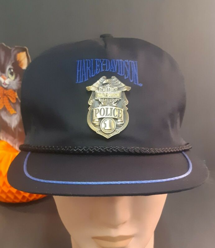 VTG 90s Harley Davidson Police Badge Cap Hat Snapback Metal Badge 1993