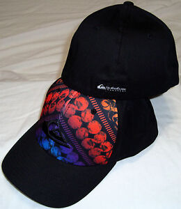 QUIKSILVER SPOTTED DOG BLACK FLEXFIT HAT CAP BRAND NEW SZ OSFA