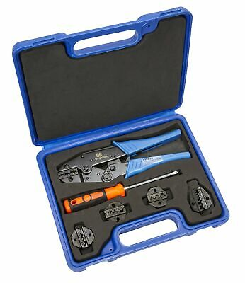 Wire Crimper With 4 Dies Tool Kit - Adjustable Settings - Ergonomic Handle Fo...