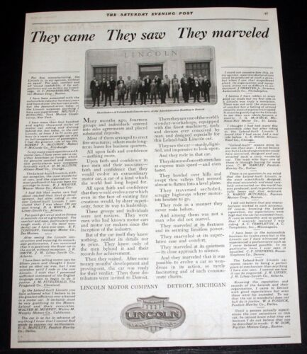 1920 OLD MAGAZINE PRINT AD, THE LINCOLN CAR, THEY CAME, THEY SAW, THEY MARVELED!