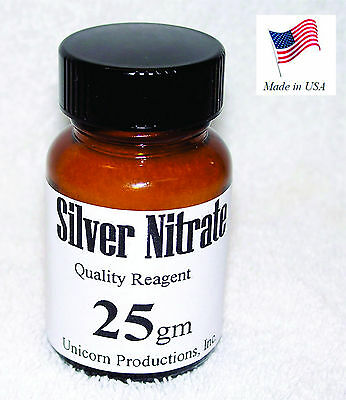 Silver Nitrate Made From 99.99 Silver Reagent - 25 Grams Agno3 Cas 7761-88-8