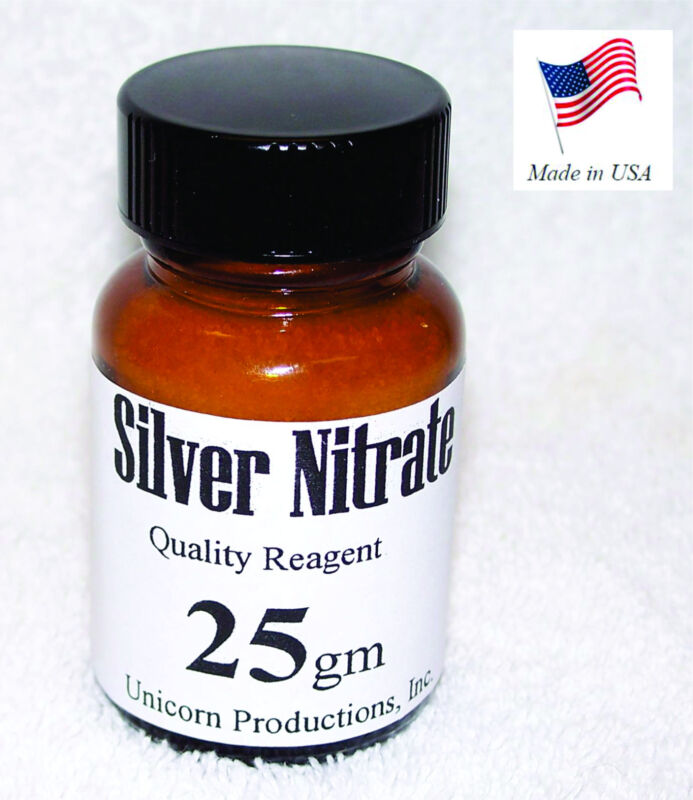 Silver Nitrate made from 99.99% silver, reagent - 25 grams AgNO3 CAS 7761-88-8