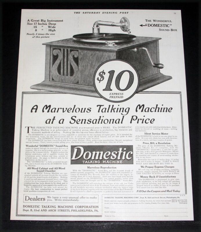 1916 OLD MAGAZINE PRINT AD, DOMESTIC, A MARVELOUS TALKING MACHINE, SENSATIONAL!