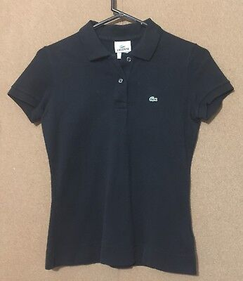 LACOSTE Ladies Top Blouse Black Short Sleeve Shirt Size 38 US Size 6