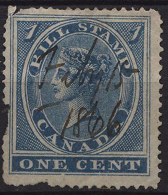 Canada Revenue VanDam # FB1 - 1c blue bill stamp of 1864