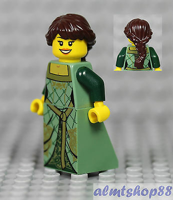 NEW Lego FEMALE MINIFIG Castle Princess w//Blue Torso Dress Dark Brown Girl Hair