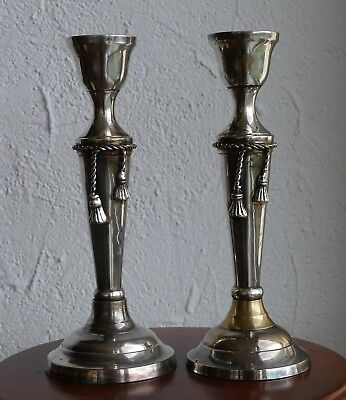 "1 Paar ältere versilberte Kerzenleuchter "" edles Kordeldesign "" !!!"