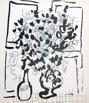 Marc Chagall  - Lassaigne - Black and Blue Bouquet (M.202) - Original Lithograph