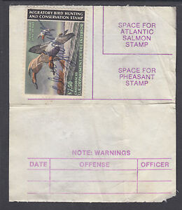 us sc rw50 on 1982 maine hunting fishing license vf