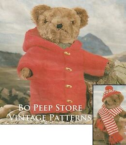 Teddy Bear Clothes - Duffle coat, Hat and Scarf  - Knitting Pattern in DK