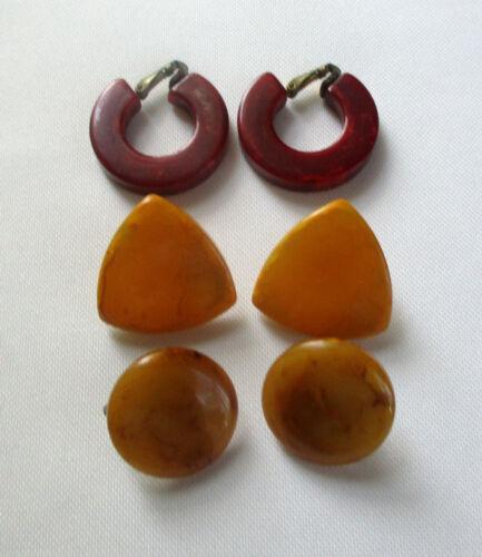 Vintage Bakelite Earrings Three Pairs