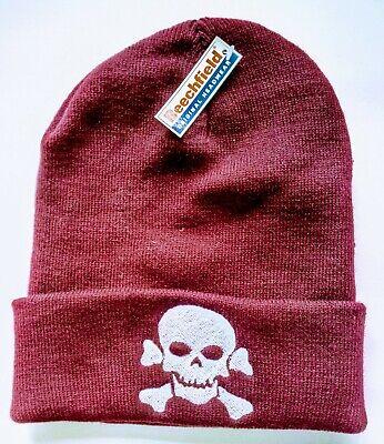 SKULL CROSSBONES pirate custom embroidered knitted beanie hat  - Custom Pirate Hat