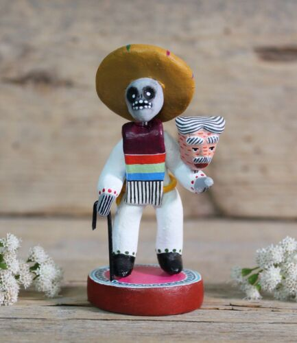 Sm Danza de los Viejitos Day of the Dead Skeleton Handmade Mexican Folk Art