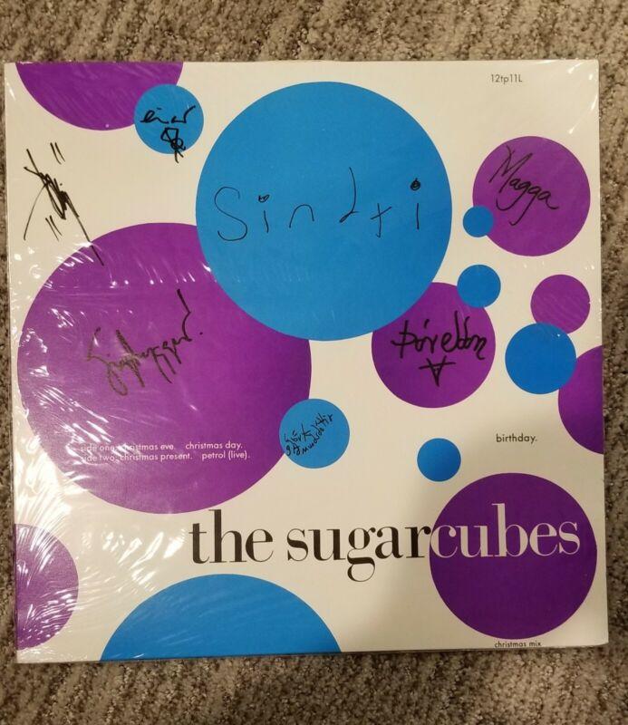 "THE SUGARCUBES ULTRA RARE SIGNED ""BIRTHDAY"" VINYL  BJORK + BAND MINT ALBUM LP"