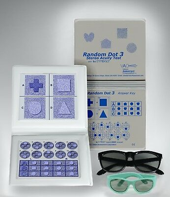Random Dot - Stereo Random Dot 3 Acuity Test Lea Symbols & Adult Child Goggles Free Shipping