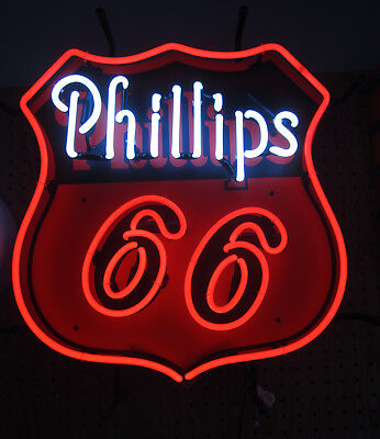 Huge Real Neon sign Phillips 66 gas station oil gasoline pump hand blown glass