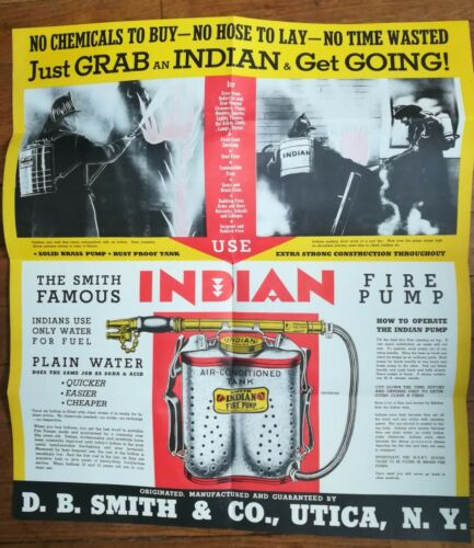 Vintage 50s Indian Fire Pump fold-out Brochure D.B. Smith & Co. Utica New York
