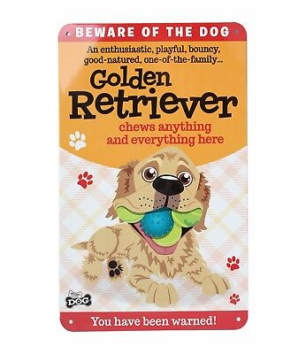 Beware of the Golden Retriever Funny Metal Wall Sign Plaque Dog Lovers Gift - Retriever Wall Plaque