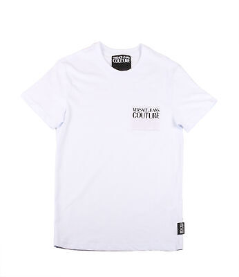 Versace Jeans Couture White Cotton Crewneck Macro Logo Patch Tee Size-XXXL