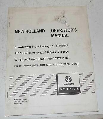New Holland Operators Manual Snow Blower 51 63 Tc Series Tractor